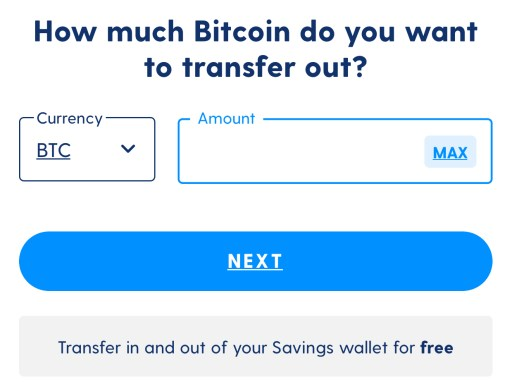 Luno Savings Wallet Select Amount To Withdraw