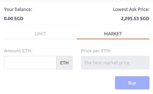 Tokenize Buy ETH Market Order
