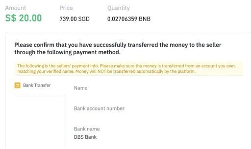 Binance P2P BNB Transfer Bank Account