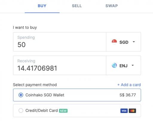 Coinhako Buy Enjin