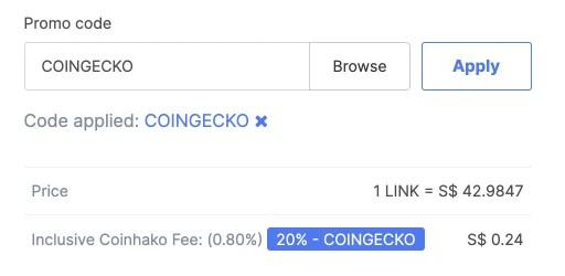 Coinhako Fee LINK Coingecko Promo