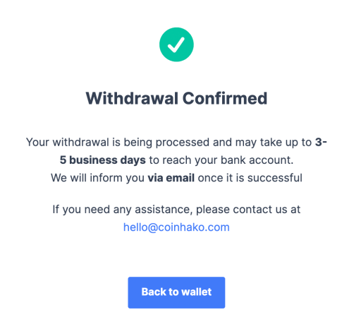 Coinhako Withdrawal Confirmed