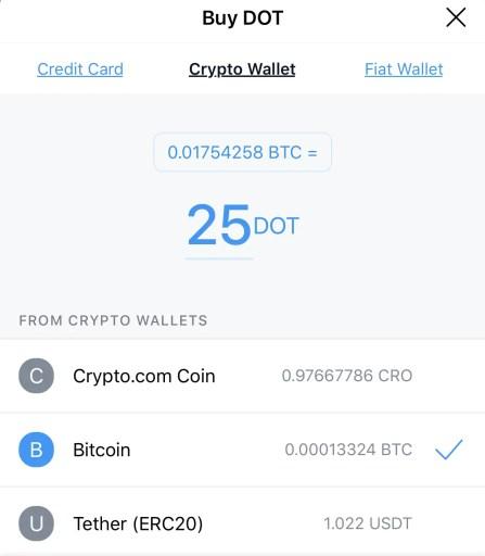 Crypto.com App Buy DOT Crypto Wallet