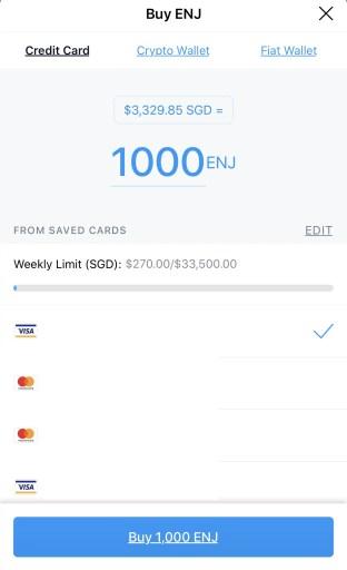 Crypto.com App Buy ENJ Credit Card