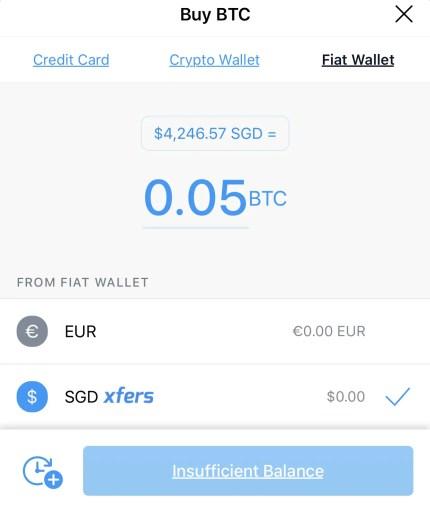 Crypto.com Select Fiat Wallet Buy BTC
