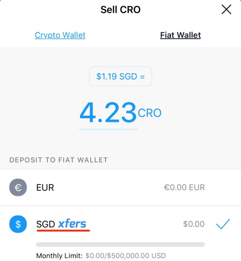 Crypto.com Sell CRO to SGD
