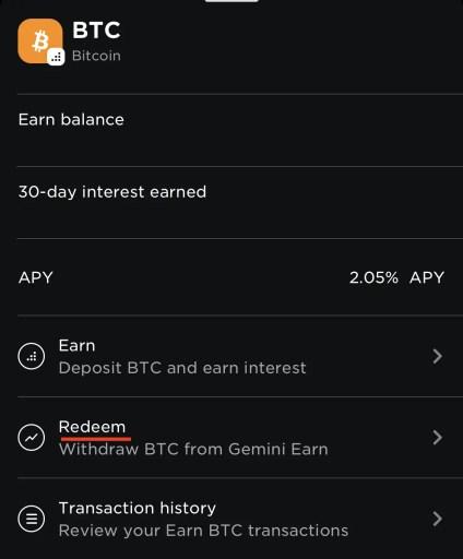 Gemini Earn View Withdraw Crypto