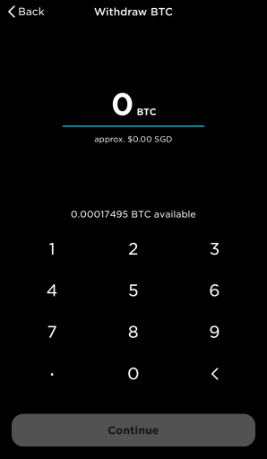 Gemini Select Amount of BTC To Withdraw