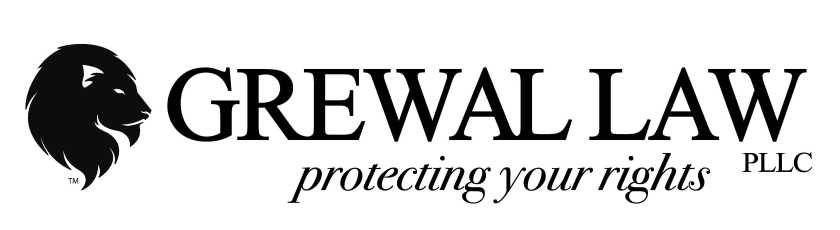 An illustration of a lions head facing the words: Grewal Law PLLC protecting your rights.
