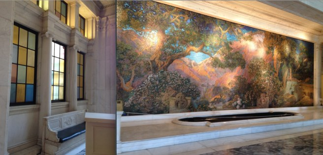 The Dream Garden- stunning Tiffany Glass mosaic hidden away in the otherwise somber Curtis office building.