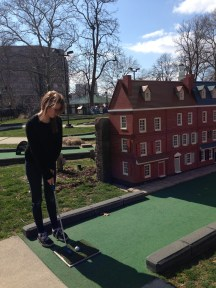 Mini-golf at Franklin square. Each hole has a to scale miniature of one of Philly's sites.