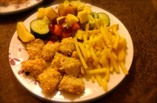 Chicken goujons and sweet salad