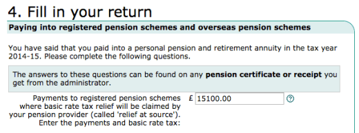 Self assessment tax return - SIPP section