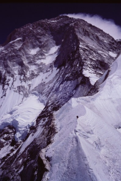 Climber on the west pillar of Makalu. 1984