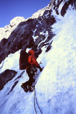 Jack Tackle leads on Mount Augusta near the Alaska-Canada border. 2001 (Photo: Charlie Sassara)