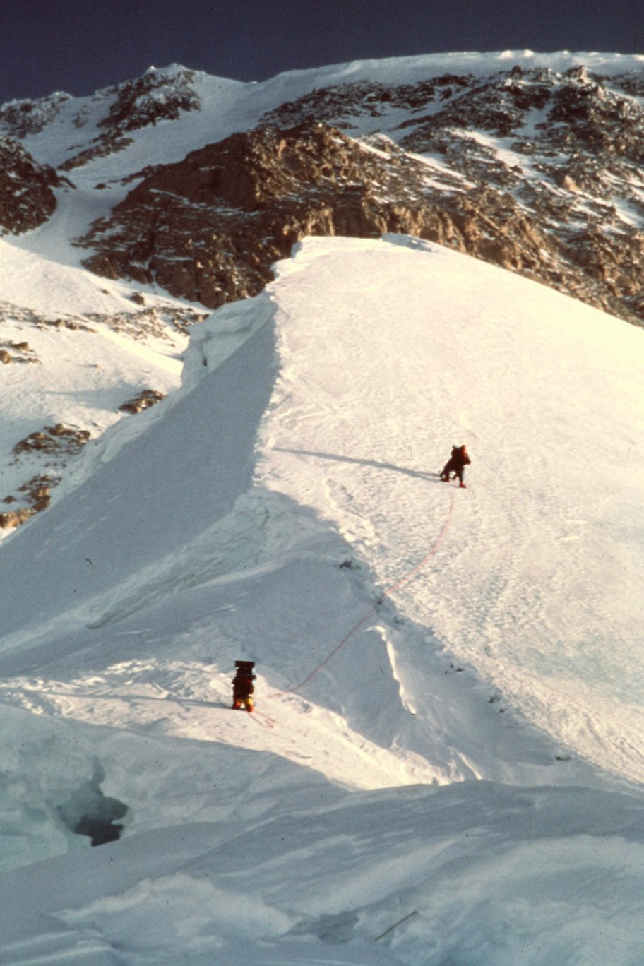 Navigating the snow domes on the west rib. Winter 1983
