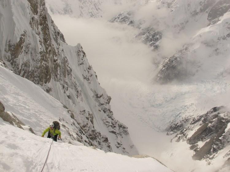 Kurt Hicks on Mount Huntington's Phantom Wall. Photo: Clint Helander