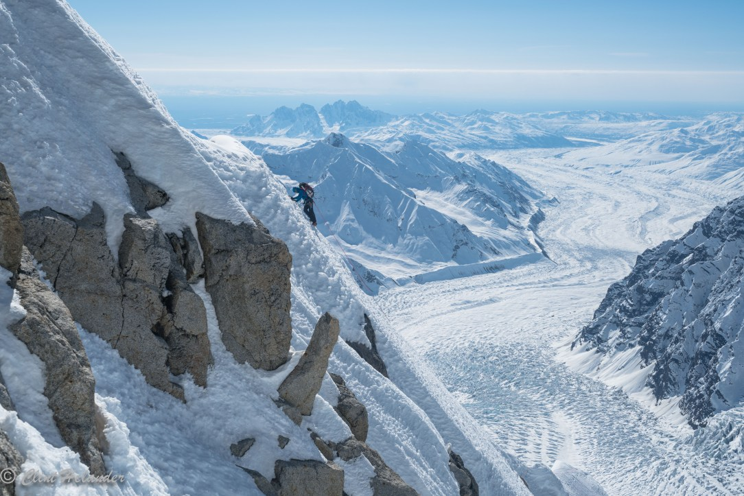 Jess Roskelley on an endless up and down traverse to the second tower on day two of the South Ridge of Mount Huntington. (Photo: Clint Helander)