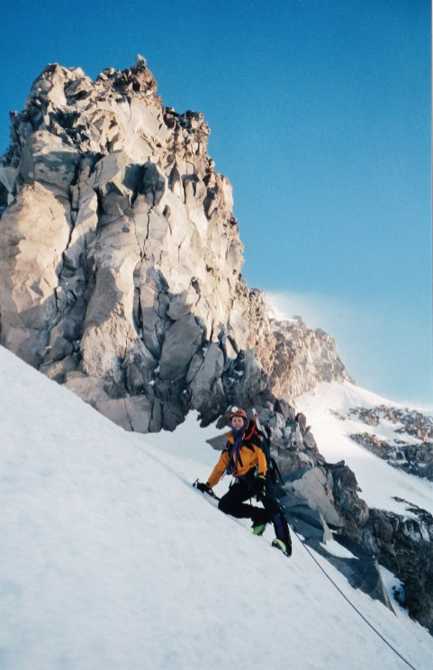 Mark climbing Nisqually Cleaver on Mount Rainier, May 1998 (Photo: George Beilstein)
