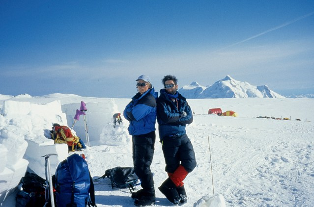Mark and Joe at 14 camp on Denali after climbing the South Buttress in a 28 day push. April 1996 (Photo: Westman collection)