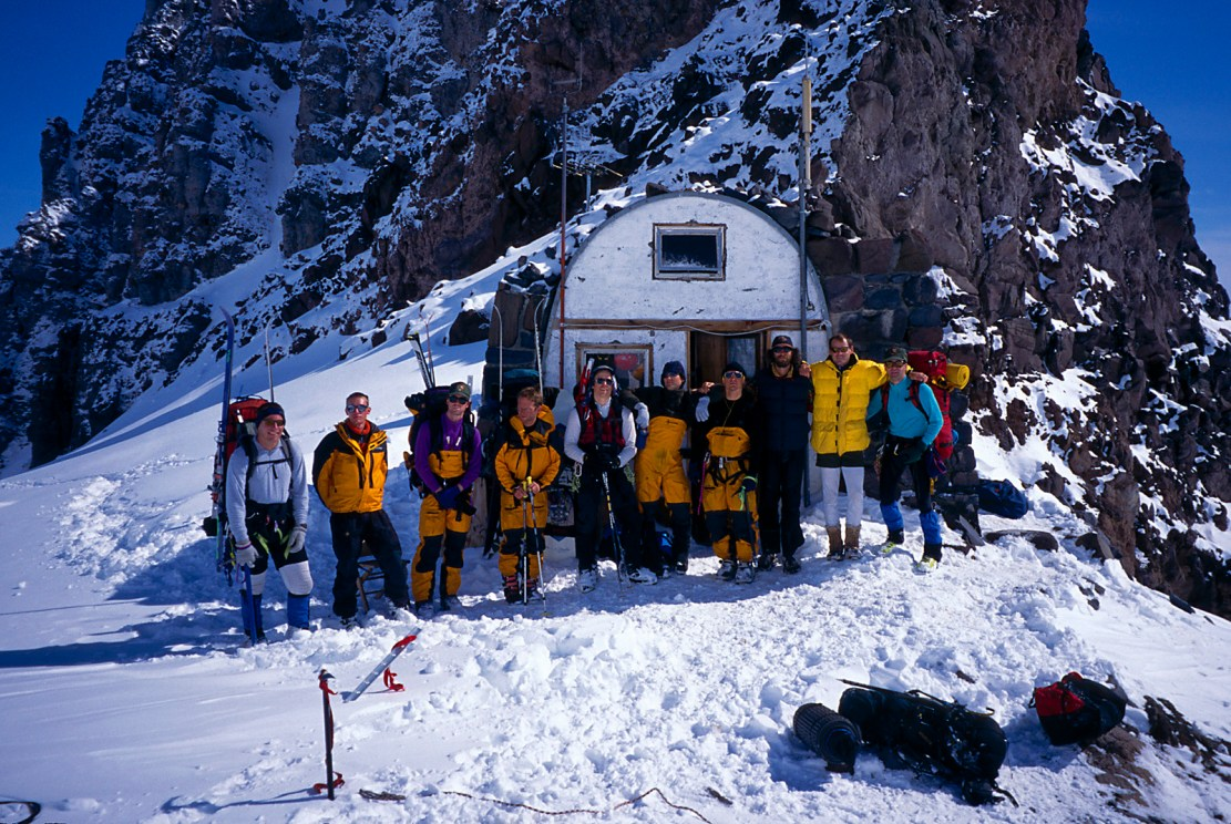 The 1998 Rainier climbing rangers, at Camp Shurman, Mount Rainier, May 1998. L-R: George Beilstein, Seth Brothers, John Kamencik, Stefan Lofgren, Mark Westman, Joe Puryear, Chad Kellogg, David Gottlieb, Mike Gauthier, Steve Winslow (Photo: Westman collection)