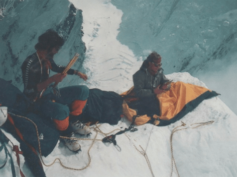 Dave Cheesemond and Carl Tobin get sorted on the east ridge of Deborah. 1983 (Photo: John Barry)