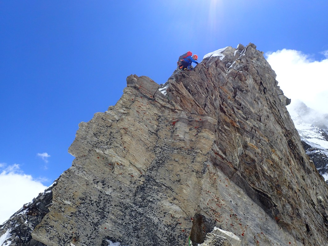 Malcolm on first ascent of NW ridge Gangstang, Himachel Pradesh, 2016. Photo: Guy Buckingham