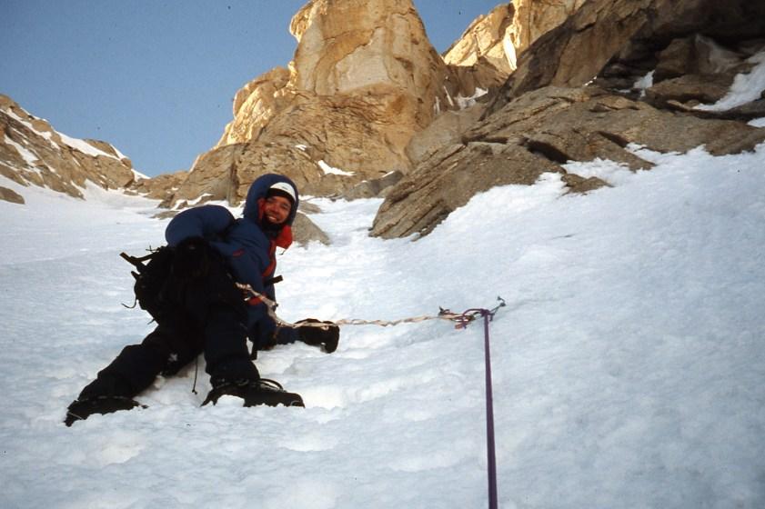 Malcolm Bass descending on Kahiltna Queen/ Humble Peak. Photo: Simon Yearsley