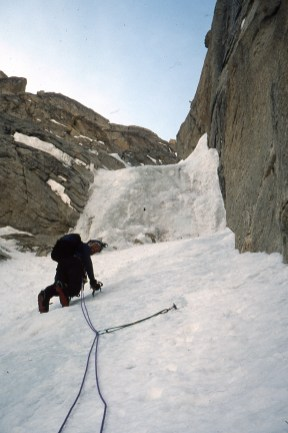 Malcolm leading on the first ascent of Distant Lights south face of Kahiltna Queen/Humble Peak 2003 with Simon Yearsley