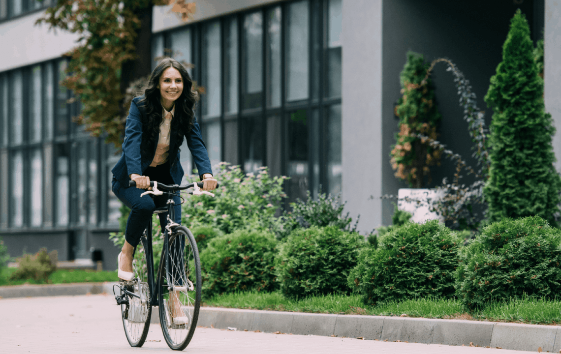 A fitness routine could include biking to work.