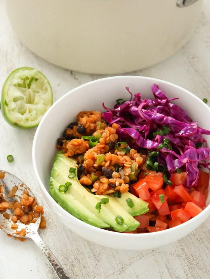 Vegan Lentil Taco Salad Bowls