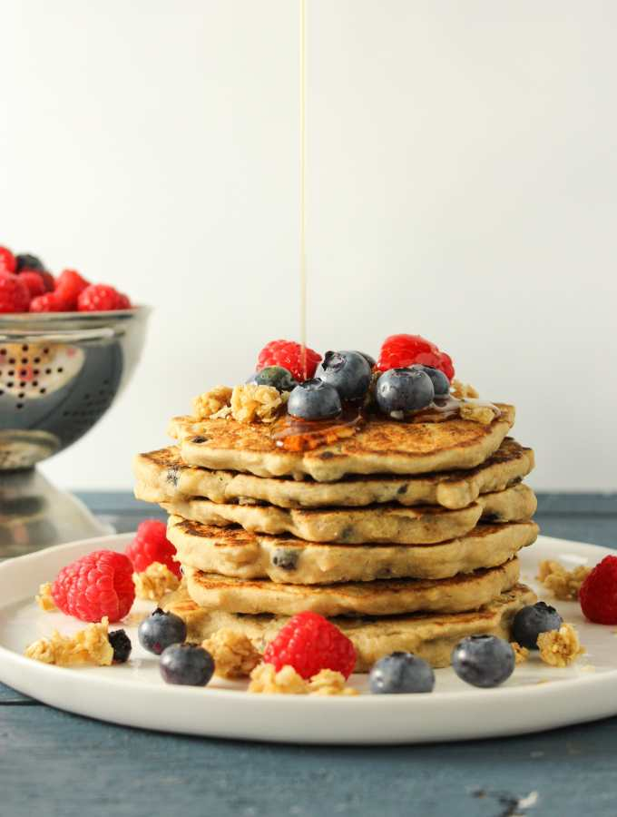 Blueberry Walnut Granola Pancakes