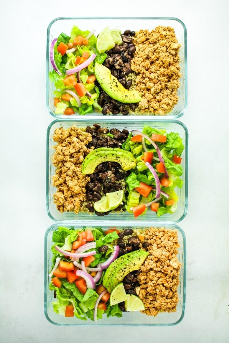 Tofu burrito bowl meal prep easy and healthy