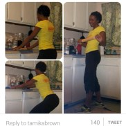 Watch Tamika Brown throw down, in the kitchen. Rolling out some dough and some ROLLING PIN SQUATS too.