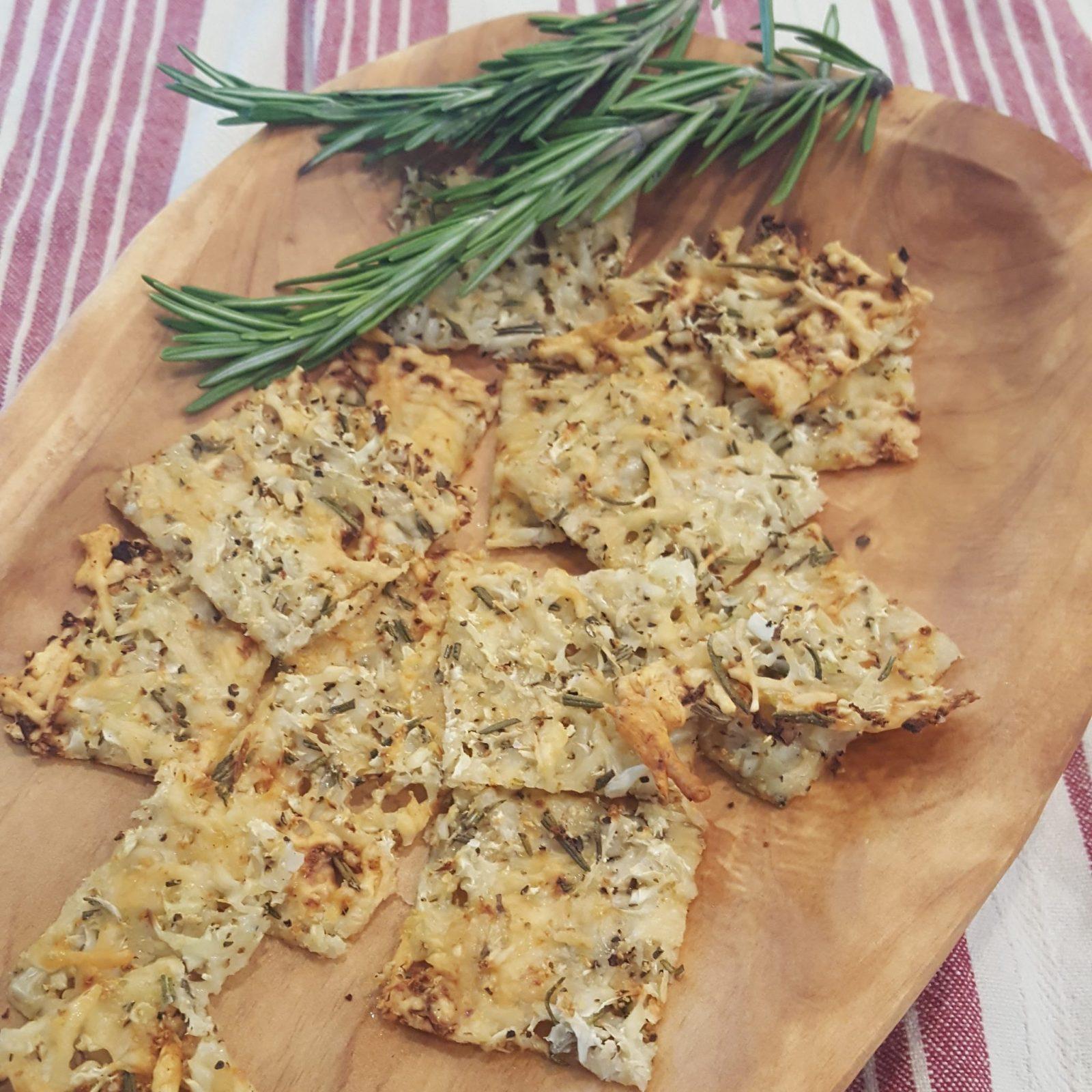 Rosemary Cauliflower Cheese Crisps Crackers
