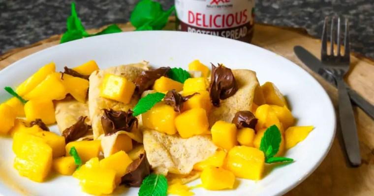 Crêpes met mango, chocopasta en munt