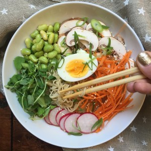 10 Minute Ramen Bowl with Miso Ginger Broth (GF, DF, VF, V)