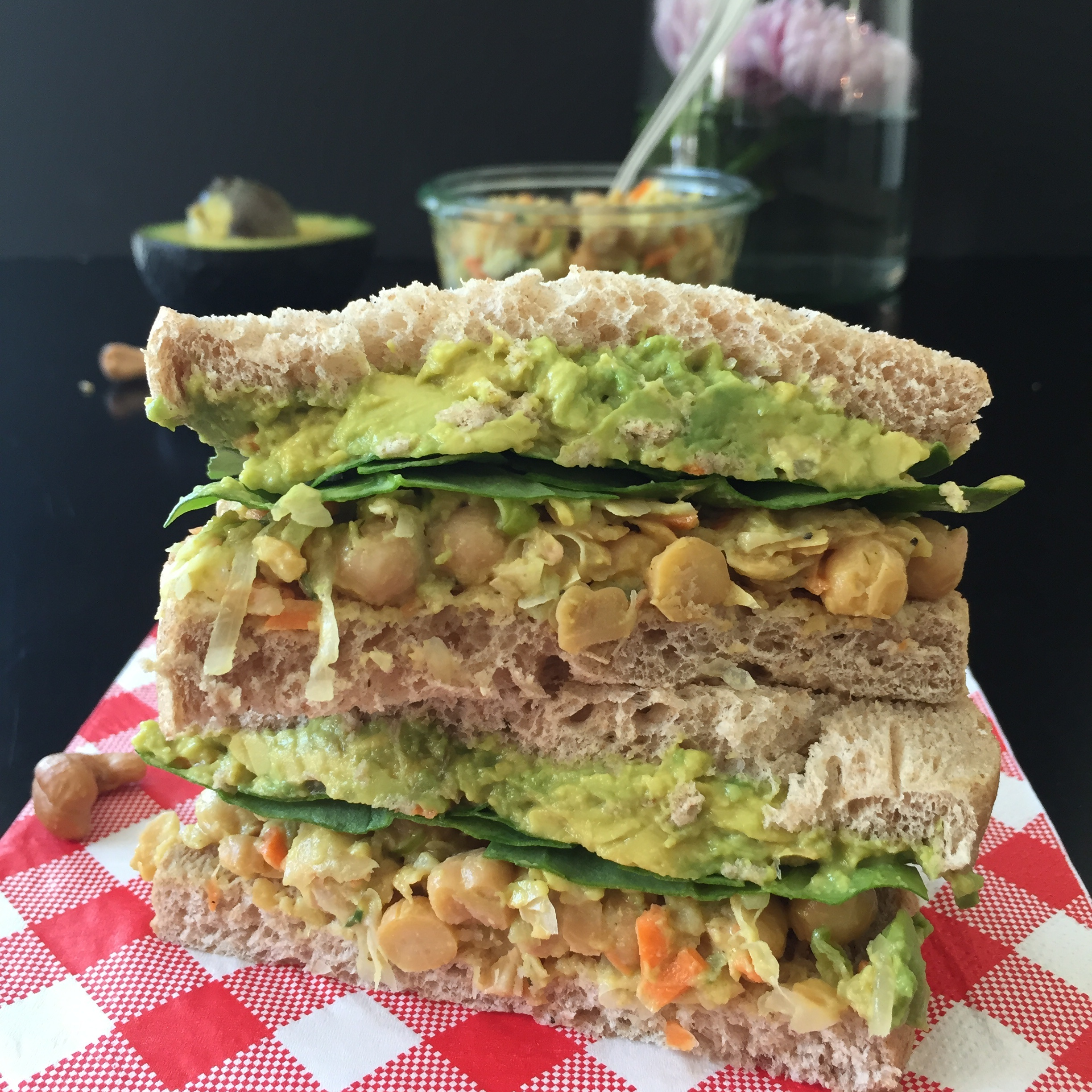 Curried Chickpea Salad Sandwich (GF, DF, V, VF)