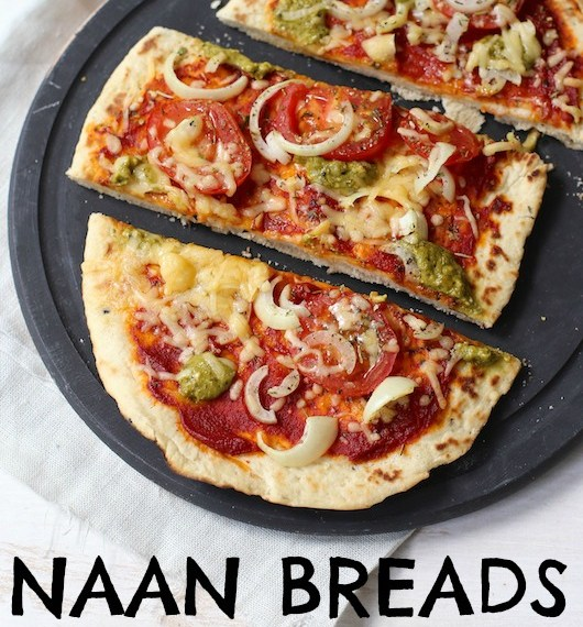 Naan Bread with Tomatoes and Pesto