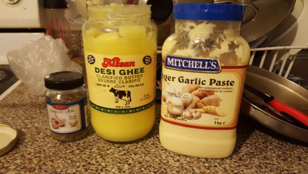 curry ingredients ghee garlic paste