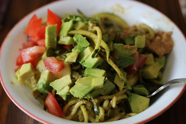 Zucchini Noodle Pesto avocado and tomato