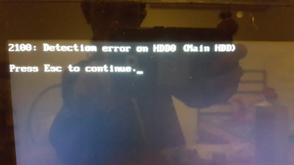 2100 detection error hdd0 lenovo laptop