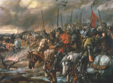 Morning of Agincourt, 25 October 1415 (oil on canvas)
