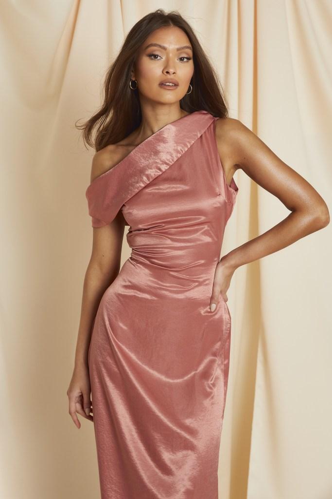 one shoulder draped maxi dress