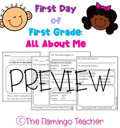 First Day of First Grade All About Me Printables - The Flamingo Teacher [ 1152 x 1152 Pixel ]