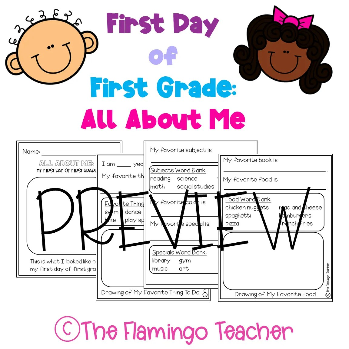 hight resolution of First Day of First Grade All About Me Printables - The Flamingo Teacher