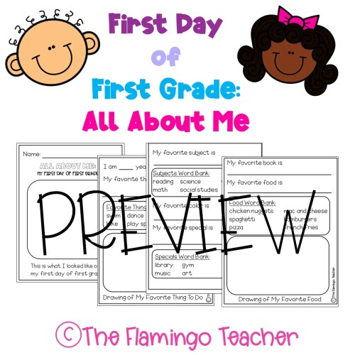 small resolution of First Day of First Grade All About Me Printables - The Flamingo Teacher