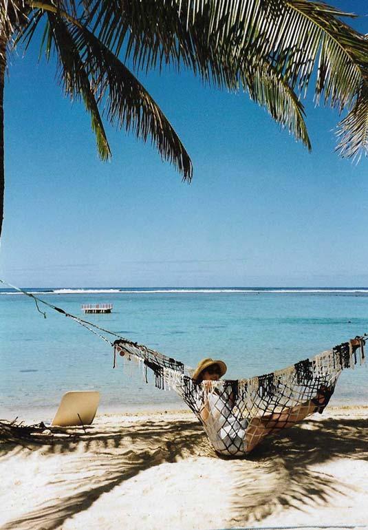 Fi under a tree at the beachside resort in Raratonga