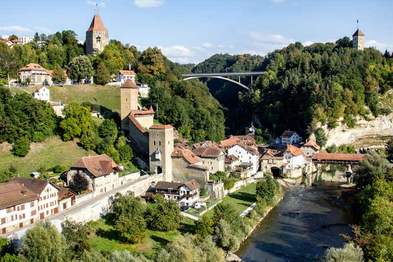 fribourg-switzerland - view from Pont Mileu