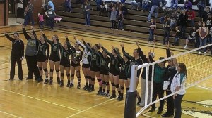 The Dublin Lady Lions celebrate their area championship won in straight sets over Grape Creek at Abilene High School Saturday. || Photo courtesy STACEY CERVETTO